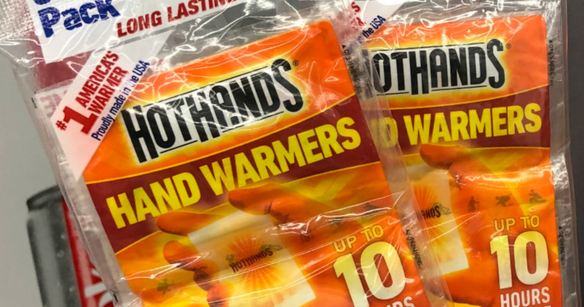 two packs of HotHands Hand Warmers