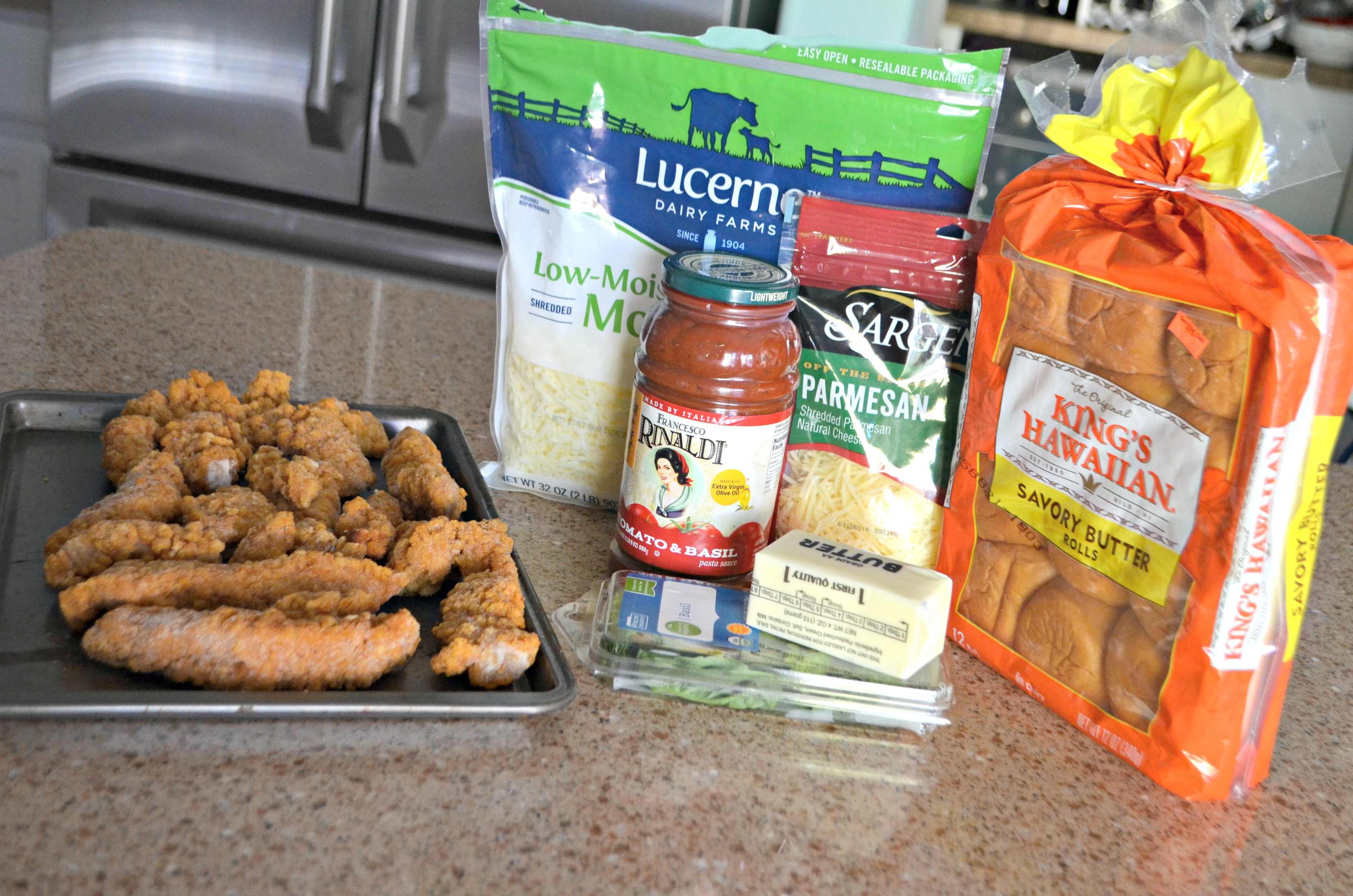 Easy Chicken Parmesan Sliders - ingredients on the counter top