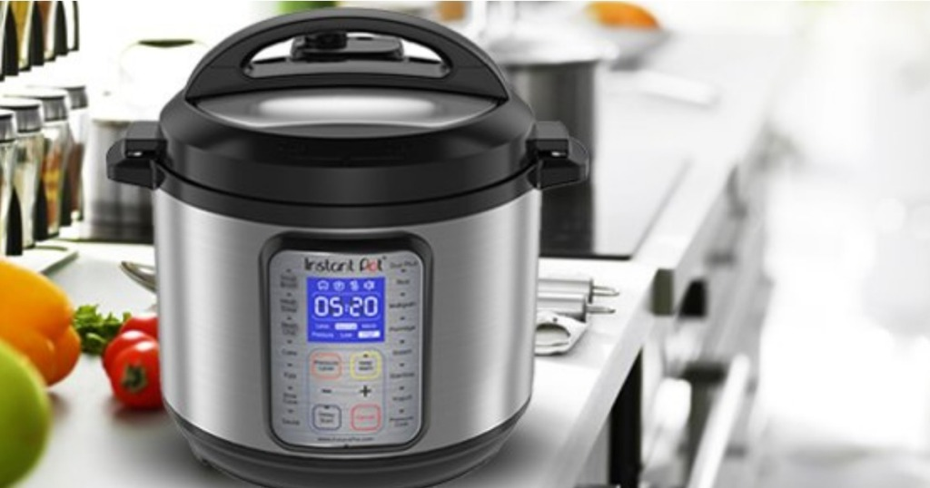 instant pot pressure cooker sitting on the end of a counter