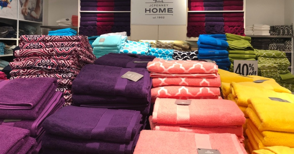 display of towels at JCPenney