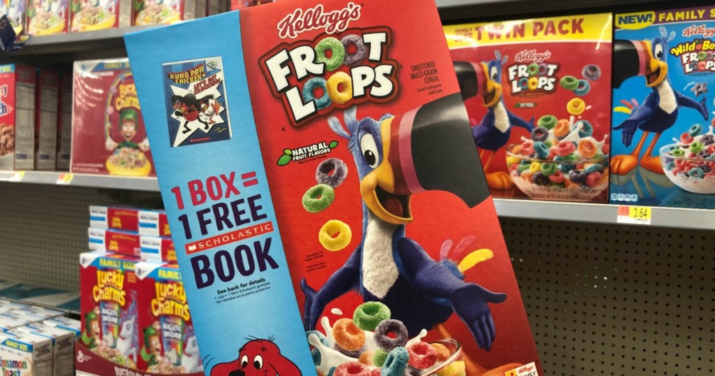close up of a box of kelloggs froot loops with free book packaging