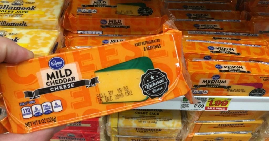 kroger block mild cheddar cheese in cheese isle
