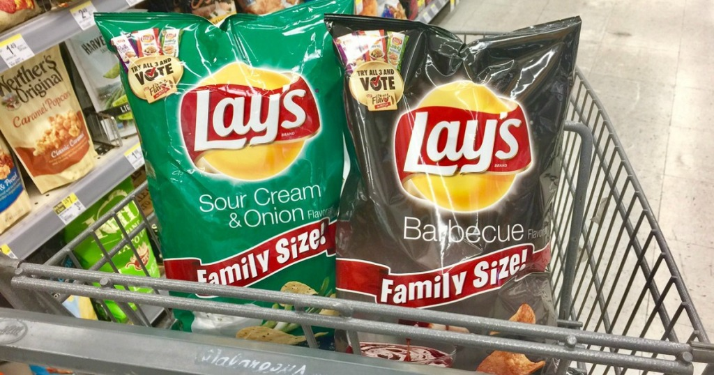 two bags of chips in Walgreens cart