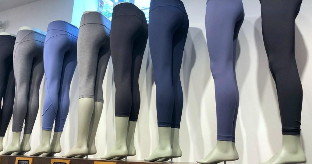 lululemon leggings on mannequin legs at store