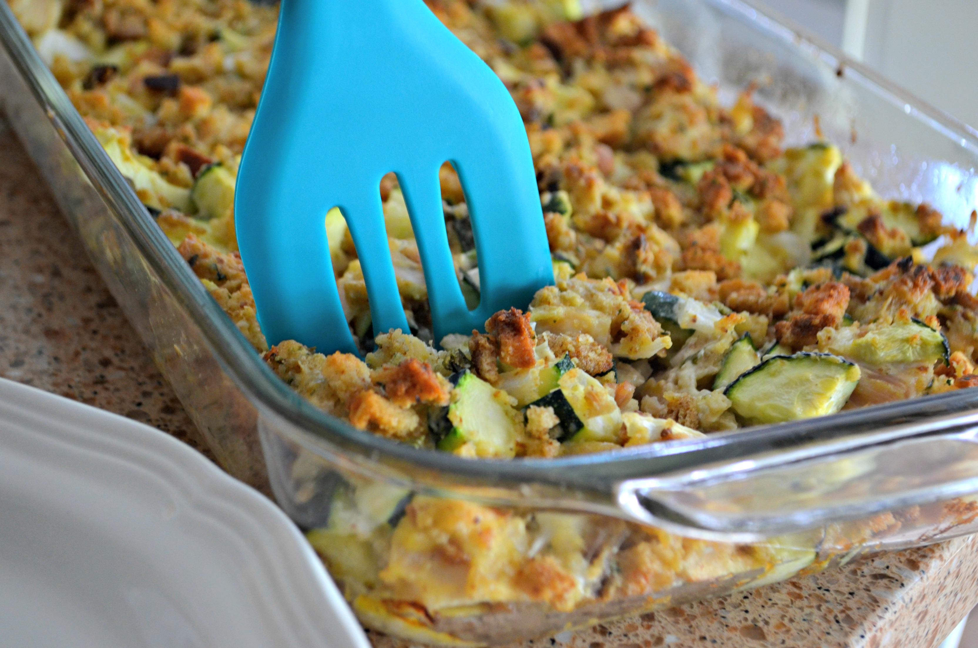 easy chicken zucchini casserole recipe -- casserole in a pan