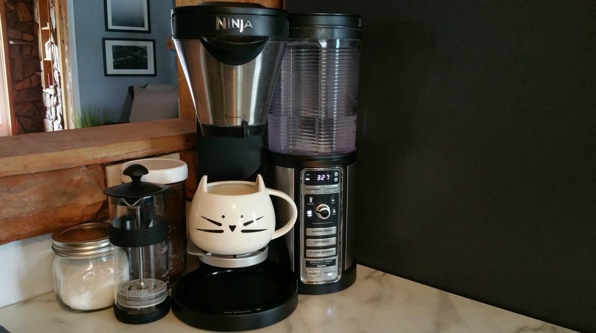 ninja coffee bar review | Ninja coffee maker with a cat mug