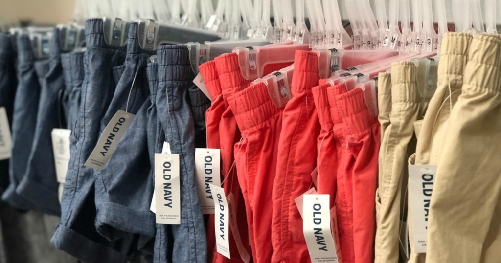 rack of Old Navy shorts
