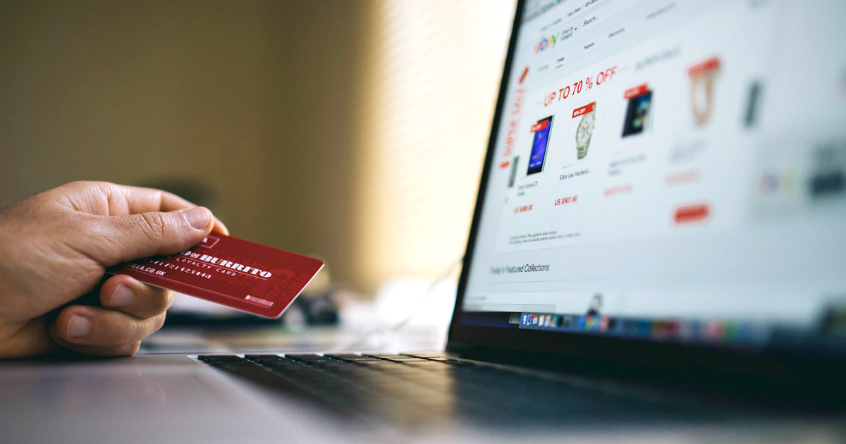 state sales tax online shopping - credit card near a laptop