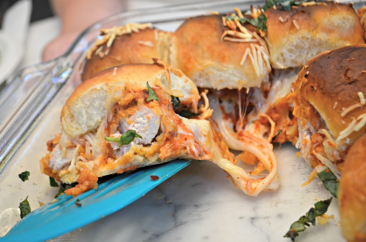 Easy Chicken Parmesan Sliders - after baking, with cheese oozing