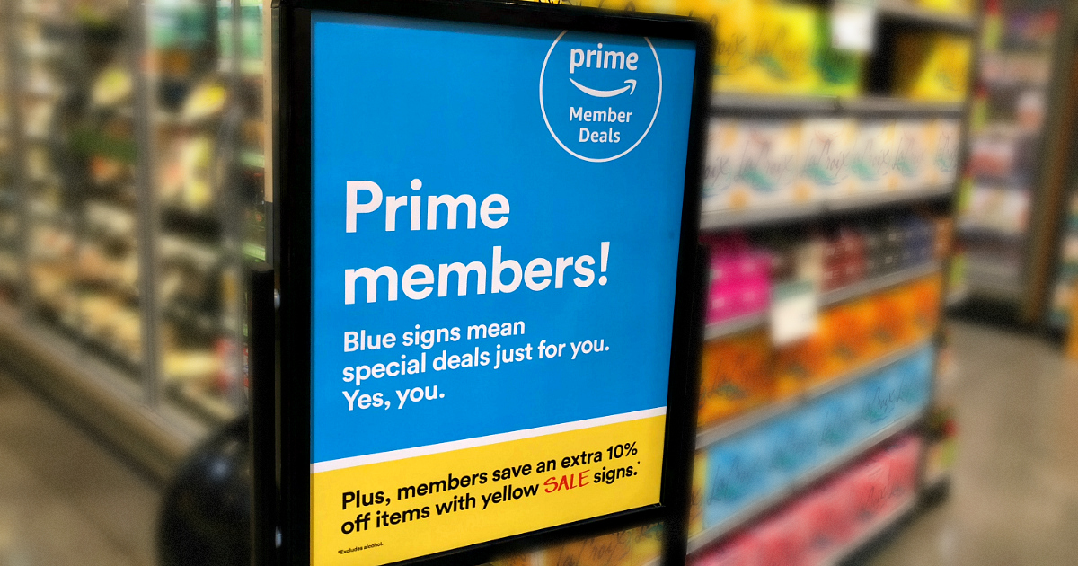 amazon prime sale whole foods - Prime Members at Whole Foods sign