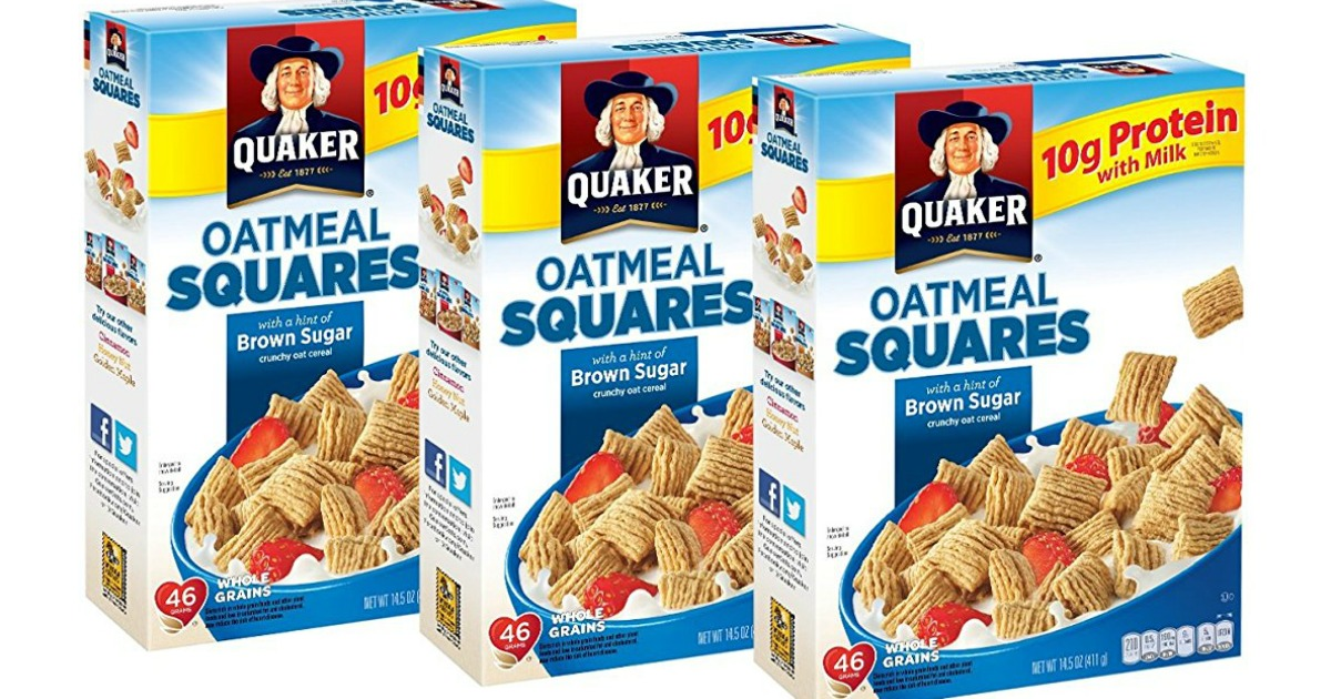 Three Quaker Oatmeal Squares cereals in a row