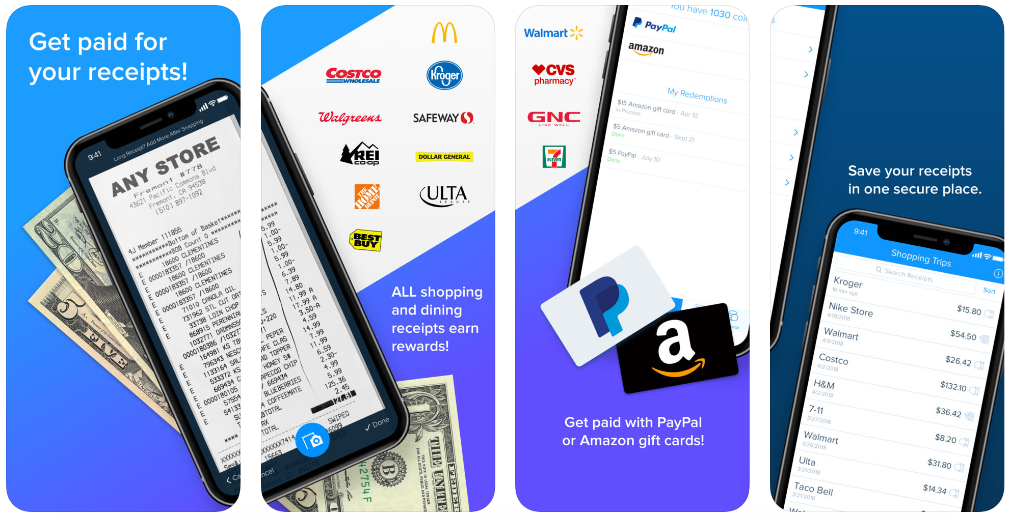 shop and earn rewards with these free mobile apps — Receipt Hog app store screens