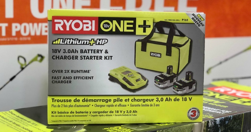 Ryobi Battery and Charger Starter Pack in package at store