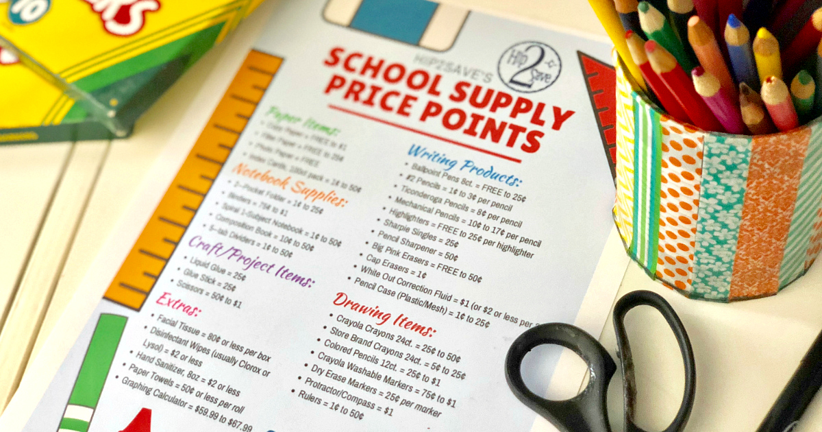 School Supply Price Points list next to a colored pencil cup