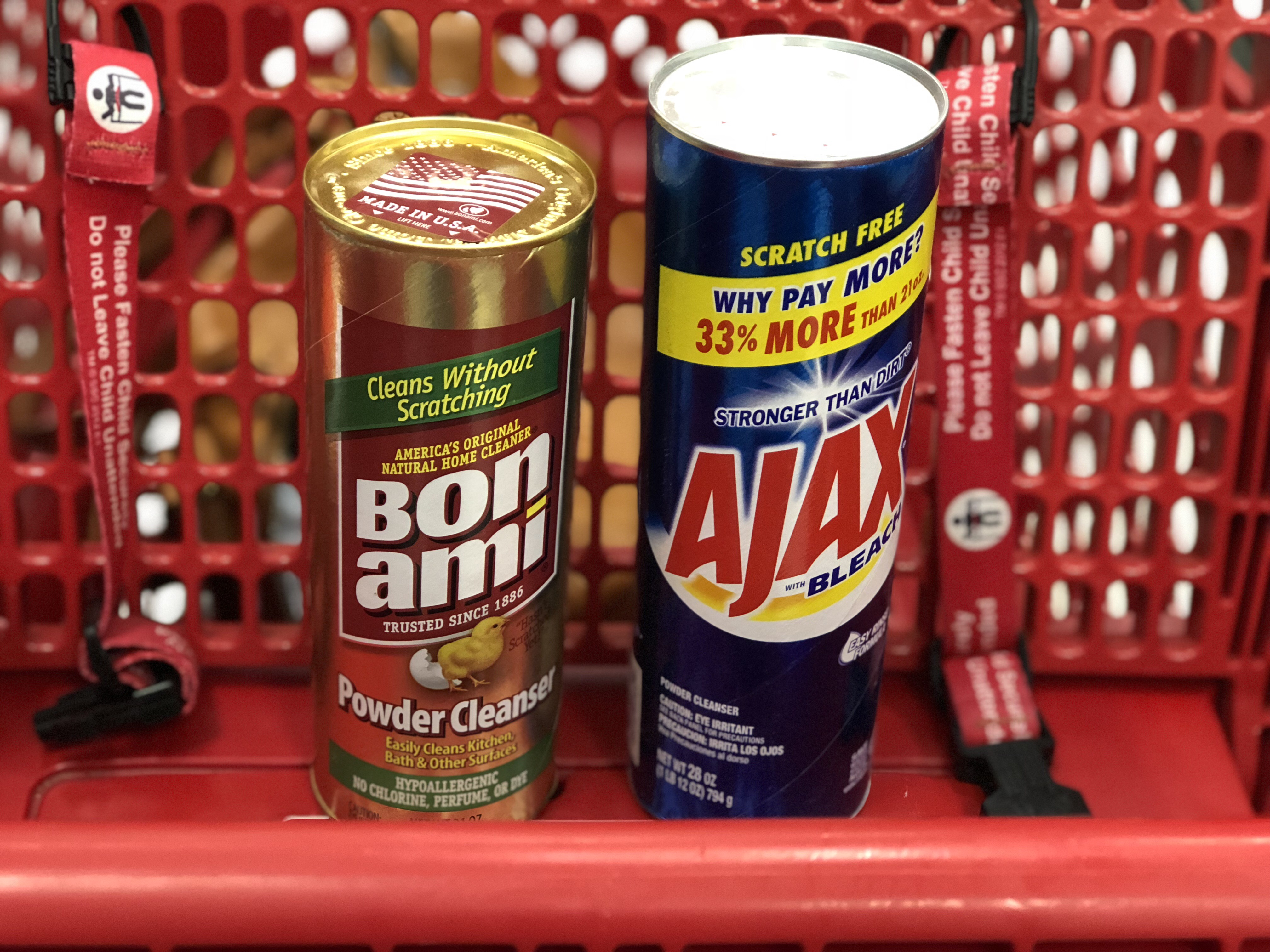 green natural eco-friendly cleaning products – scouring powders at Target – Bon Ami versus Ajax