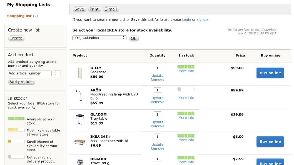 ikea shopping tips — create an online shopping list