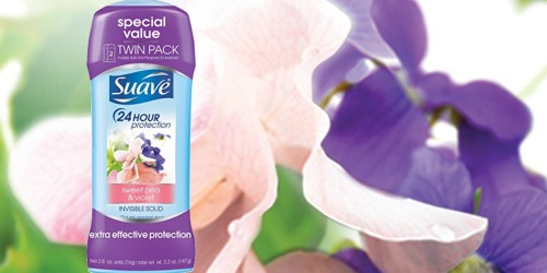 Amazon: Suave Sweet Pea & Violet Deodorant 2-Pack Only $2.59 Shipped (Just $1.30 Each)