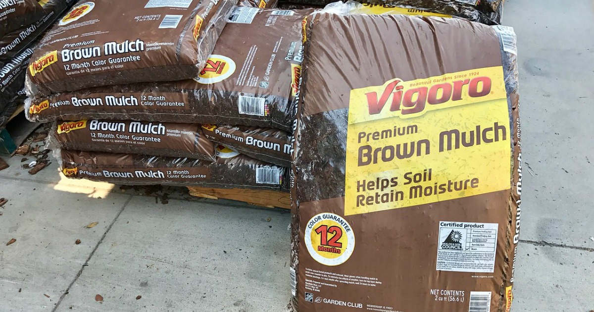 Brown mulch bag at Home Depot