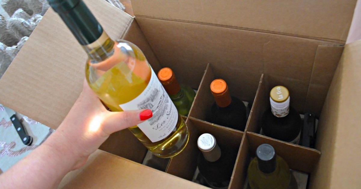 6 bottles award winning wine free corkscrew – Wine Insiders opened box with wines inside