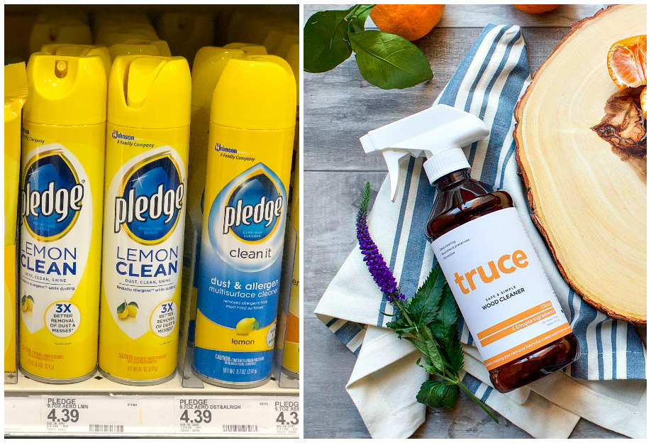 green natural eco-friendly cleaning products – wood cleaner comparisons – Pledge versus Truce
