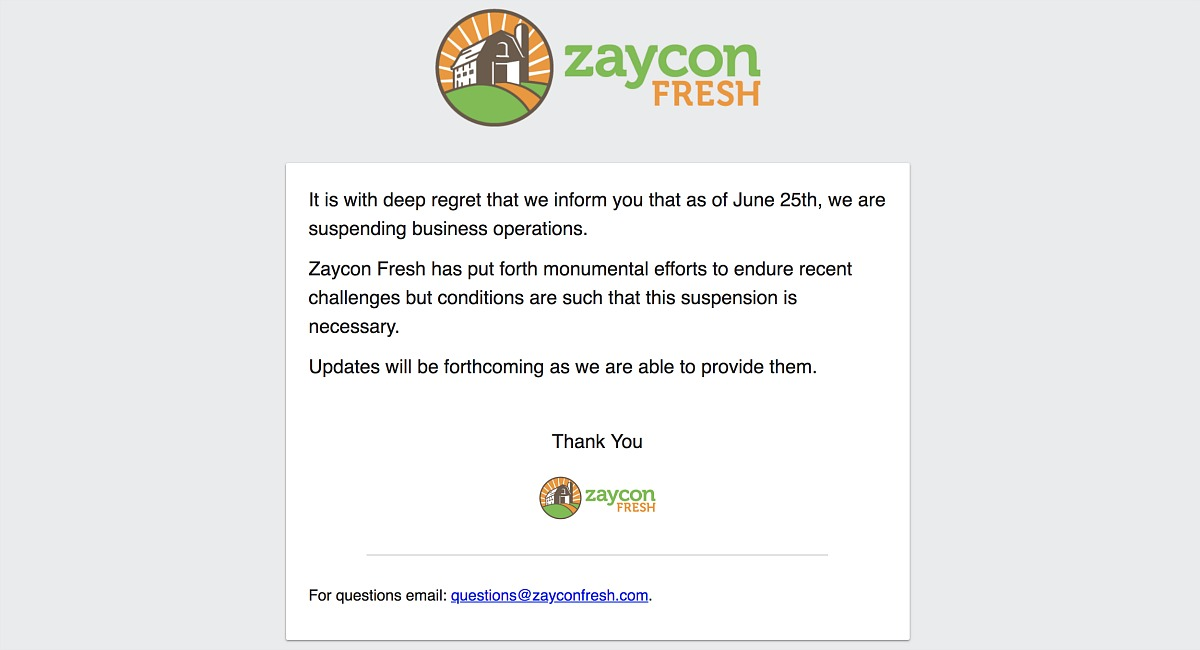 zaycon fresh suspended business operations - Zaycon fresh landing page announcement