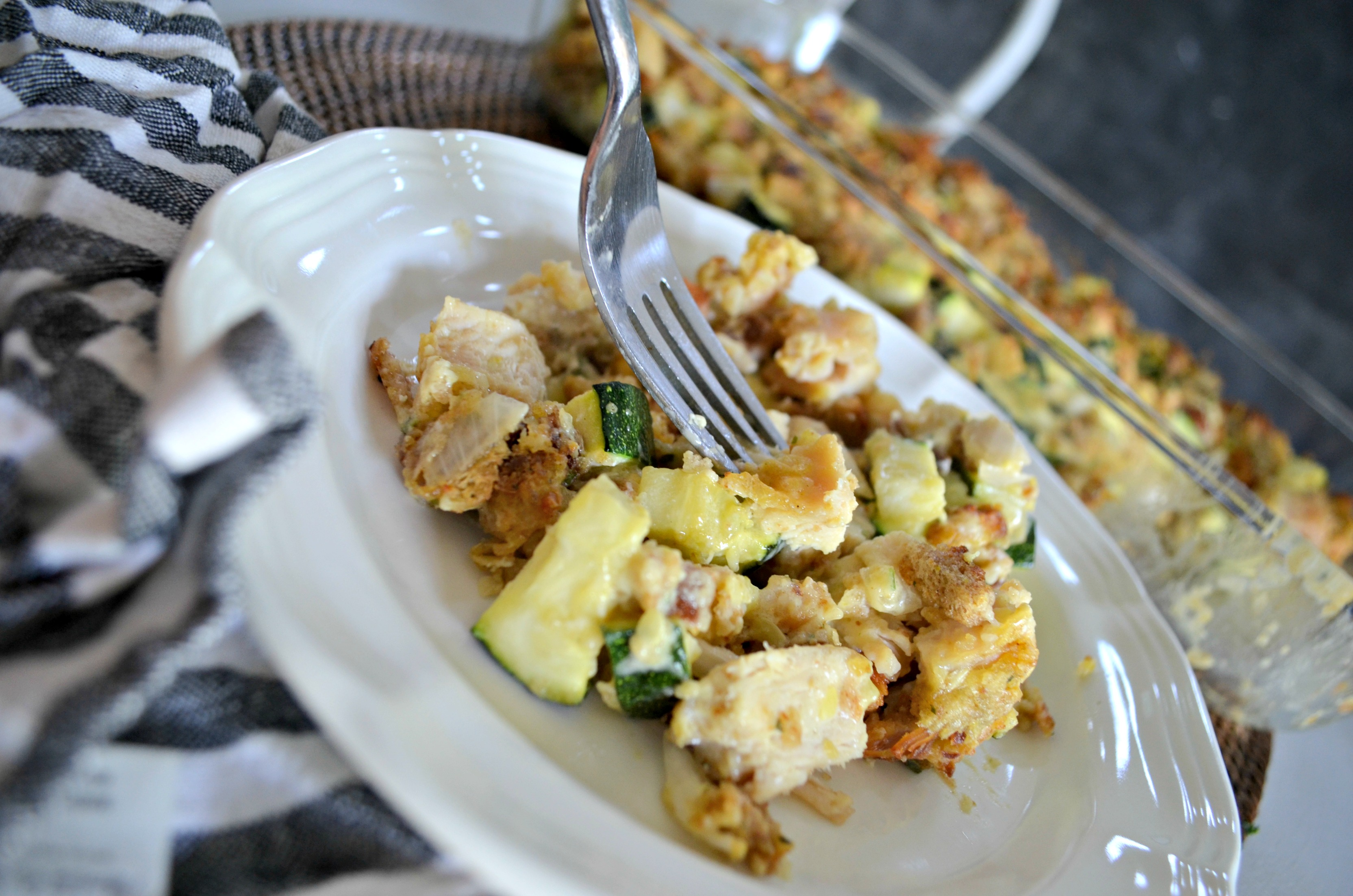 easy chicken zucchini casserole recipe -- finished product on a plate