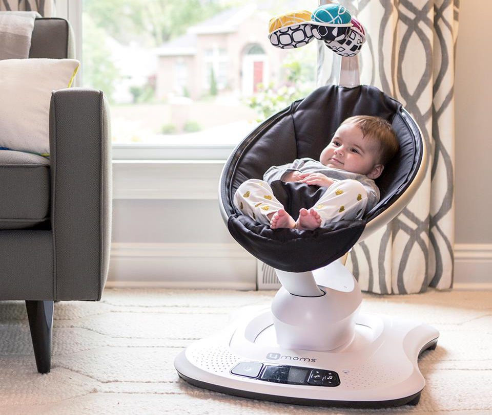 baby in 4moms mamaroo black classic