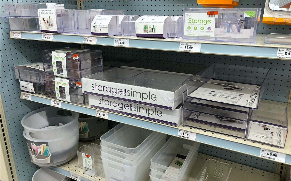 back-to-school college dorm shopping with big lots — acrylic and frosted plastic organizing bins and trays