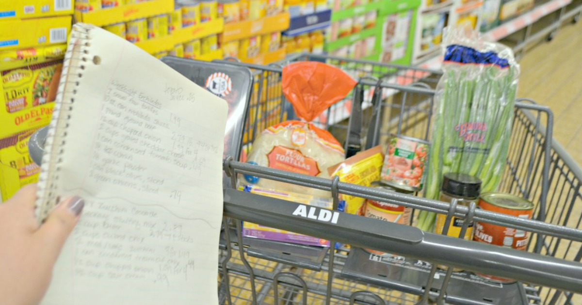 FREE Printable 5 Day Aldi Meal Plan – list and shopping cart