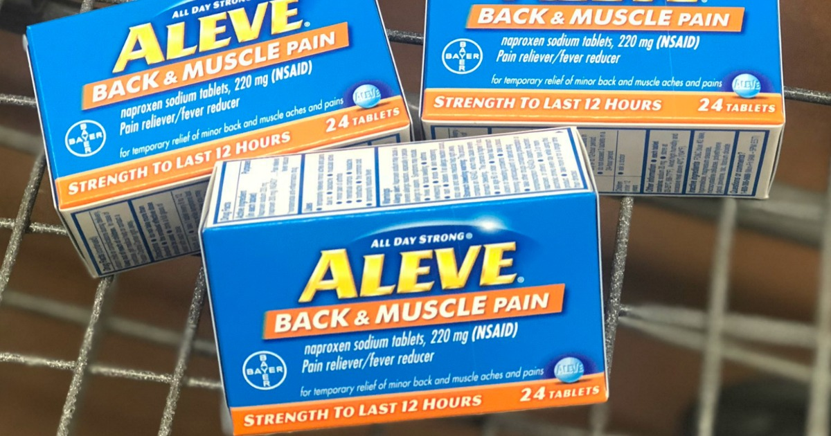blue boxes of aleve in cart