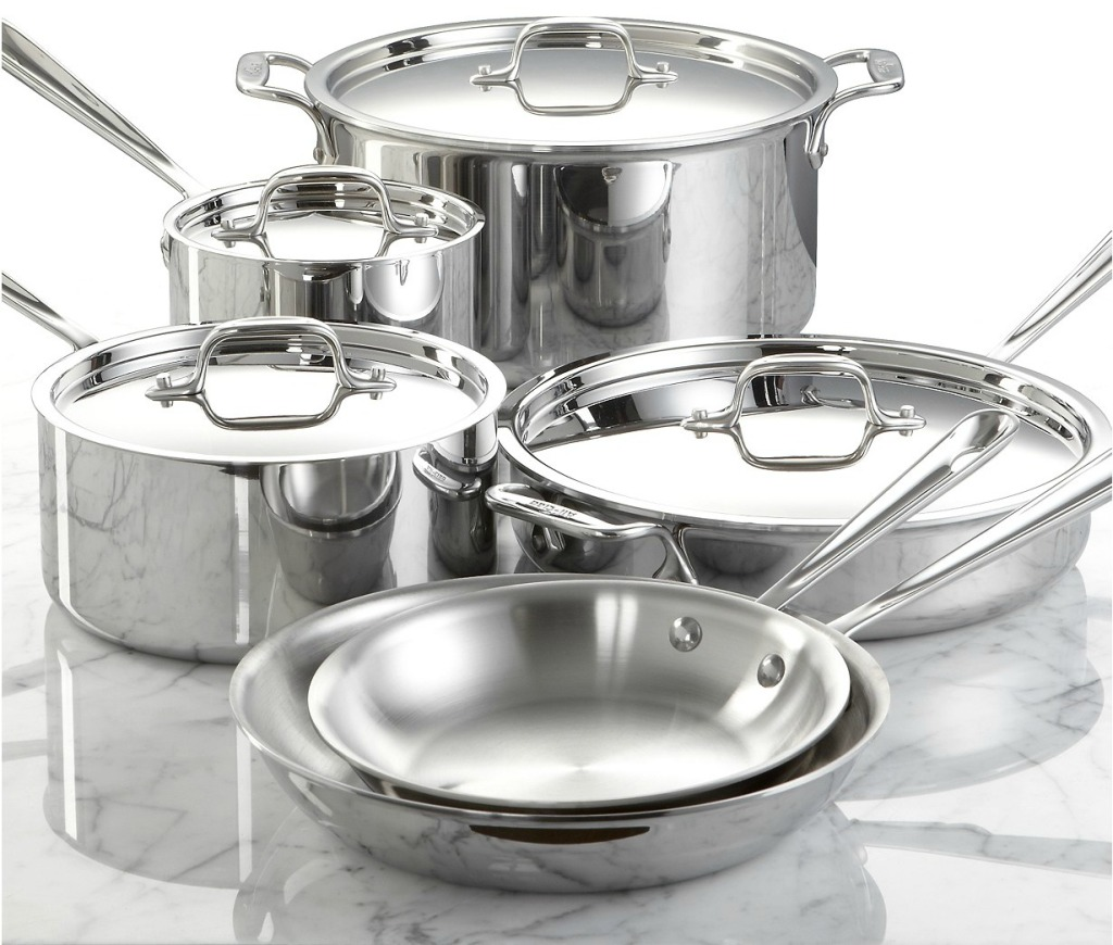 All-Clad 10 Piece Stainless Steel Cookware Set Only $422 99