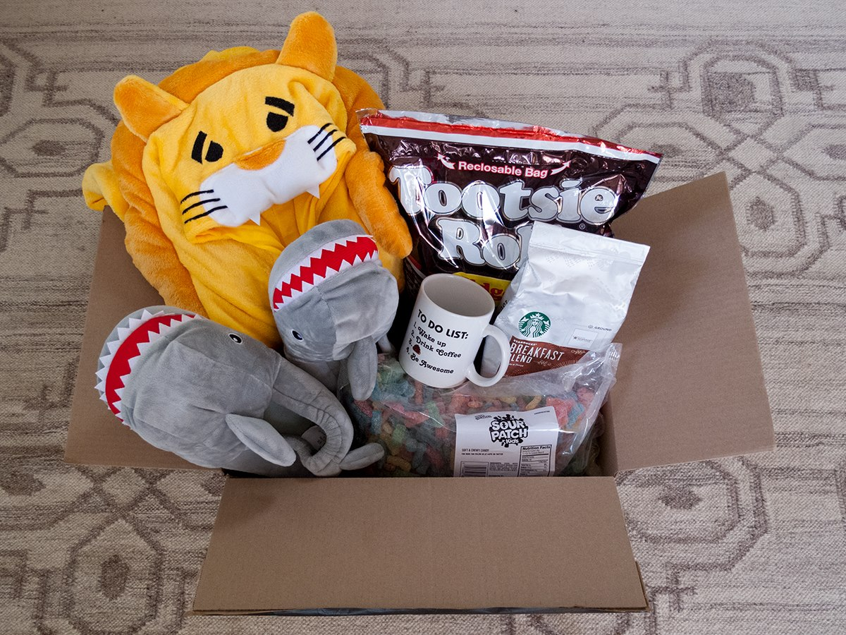 amazon prime student open box with stuffed animals and slippers, tootsie rolls, and snacks