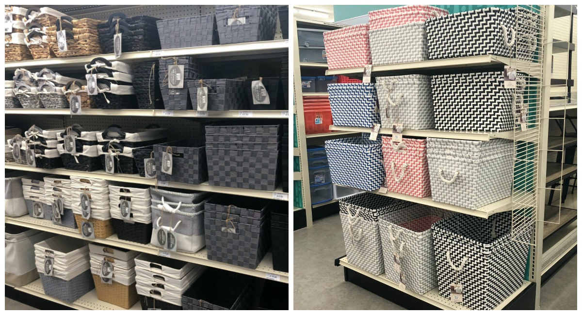 back-to-school college dorm shopping with big lots — faux wicker bins and woven colorful baskets
