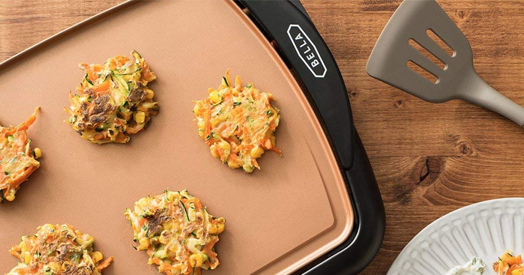 bella copper griddle shown with food
