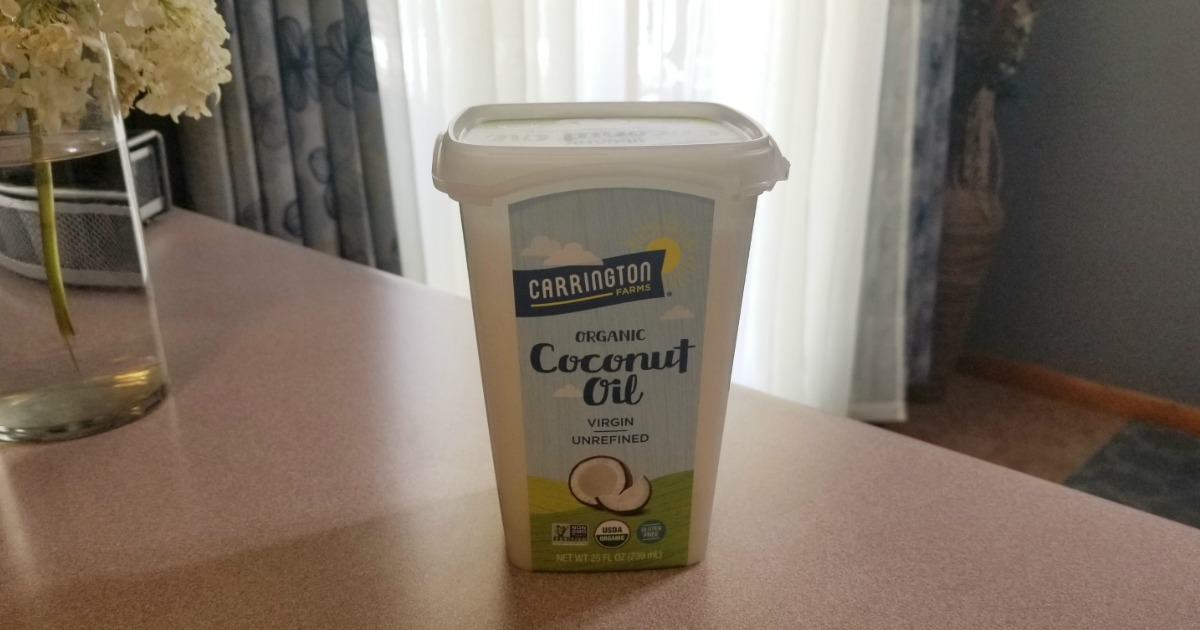 uses for carrington farms coconut oil abound! The coconut oil container on a counter