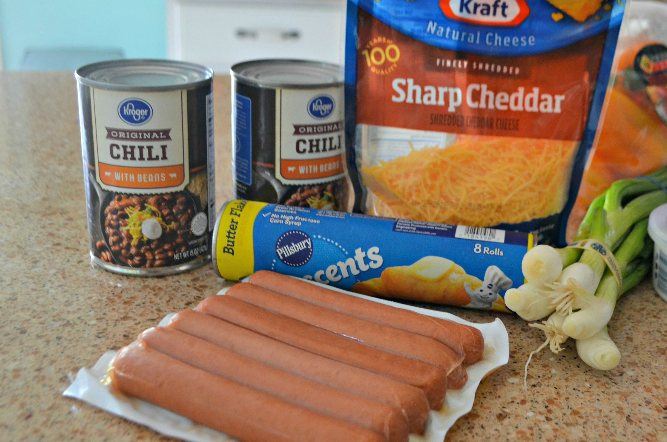 EASY Chili Cheese Dog Bake recipe. Here are the raw ingredients for this recipe.
