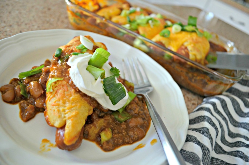 plated chili cheese dog casserole