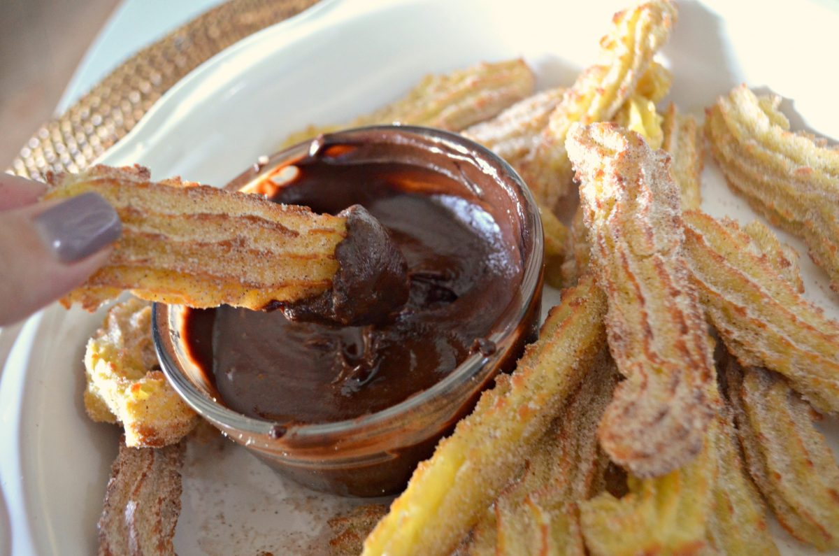cinnamon and sugar churros from the air fryer – dipped in chocolate
