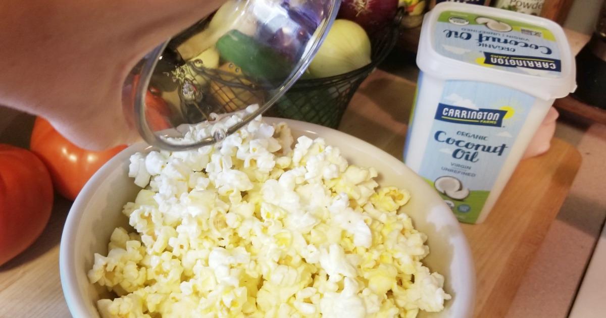 uses for carrington farms coconut oil abound! Coconut oil in popcorn