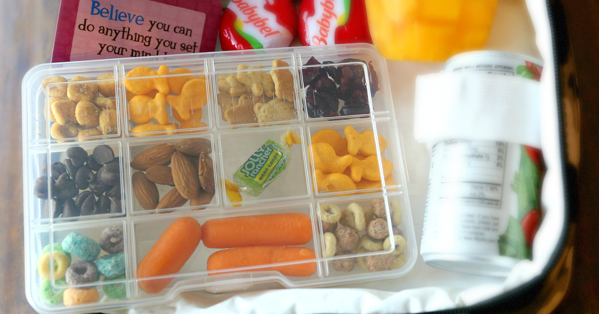 Dollar Tree Back to School hacks – use a compartment container for snacks