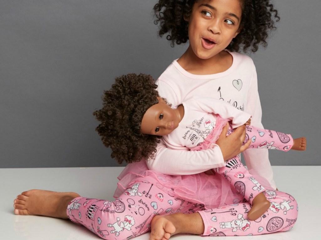 Dollie & Me Pink 'Dream of Paris' Pajama Set & Doll Outfit