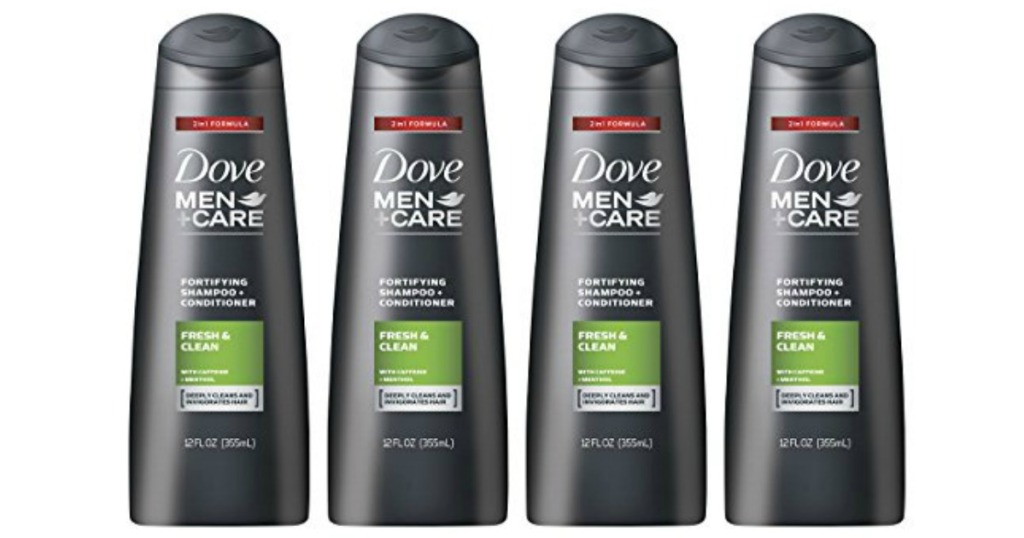 four dove men+care shampoo and conditioner bottles