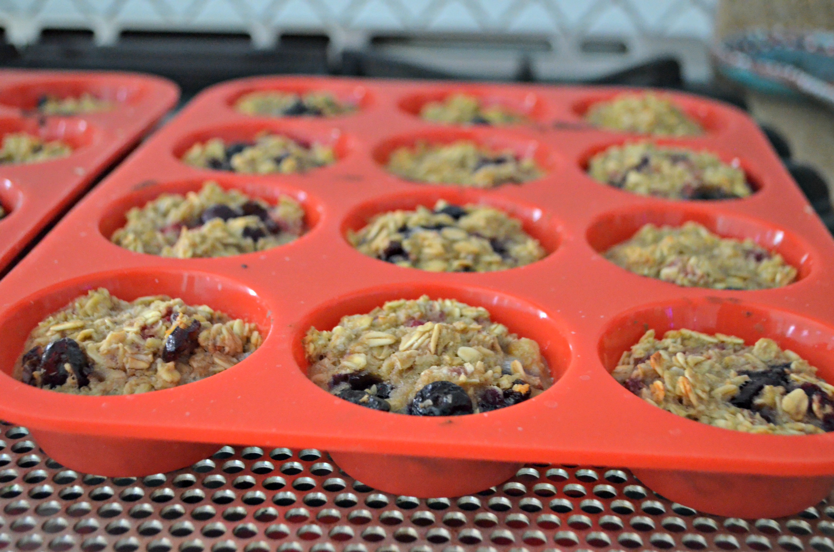 Baked Oatmeal Berry Cups – muffins in the tin prior to baking