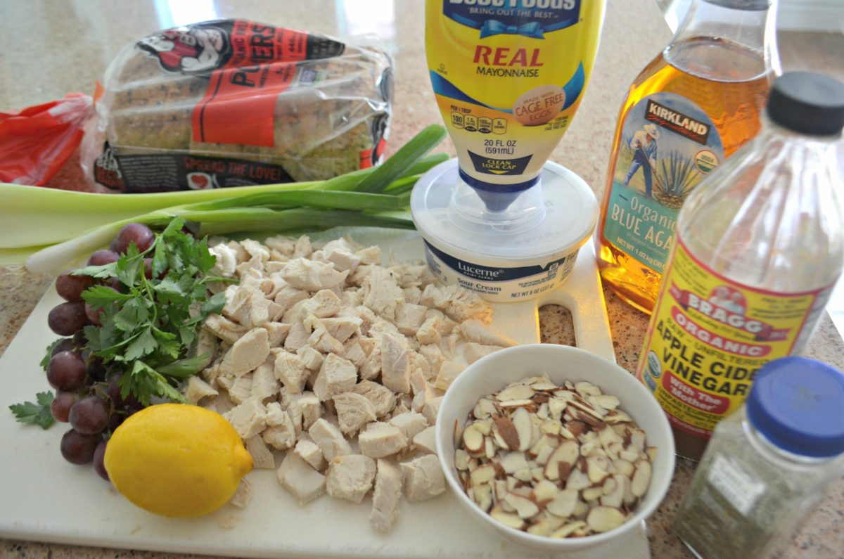 Napa Almond Chicken Salad Panera Copycat Recipe – the ingredients laid out on the counter
