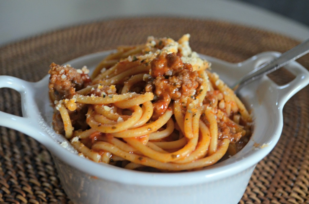 instant pot spaghetti in dish