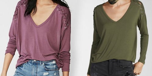 Express.com: Women's Lace Up Shoulder Tee Only $11.99 (Regularly $40) & More