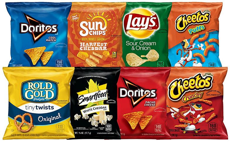 various snack-sized bags of frito-lay chips