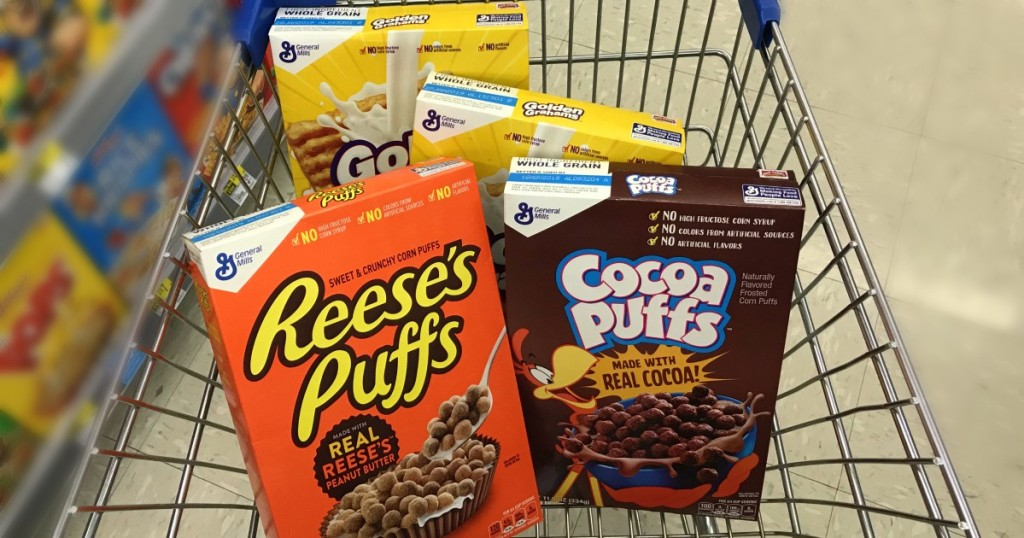 reese's puffs cocoa puffs and golden grahams in cart