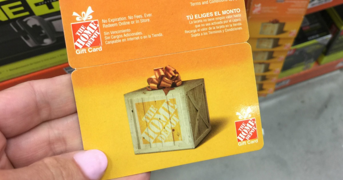 Home Depot Gift Card in hand in-store