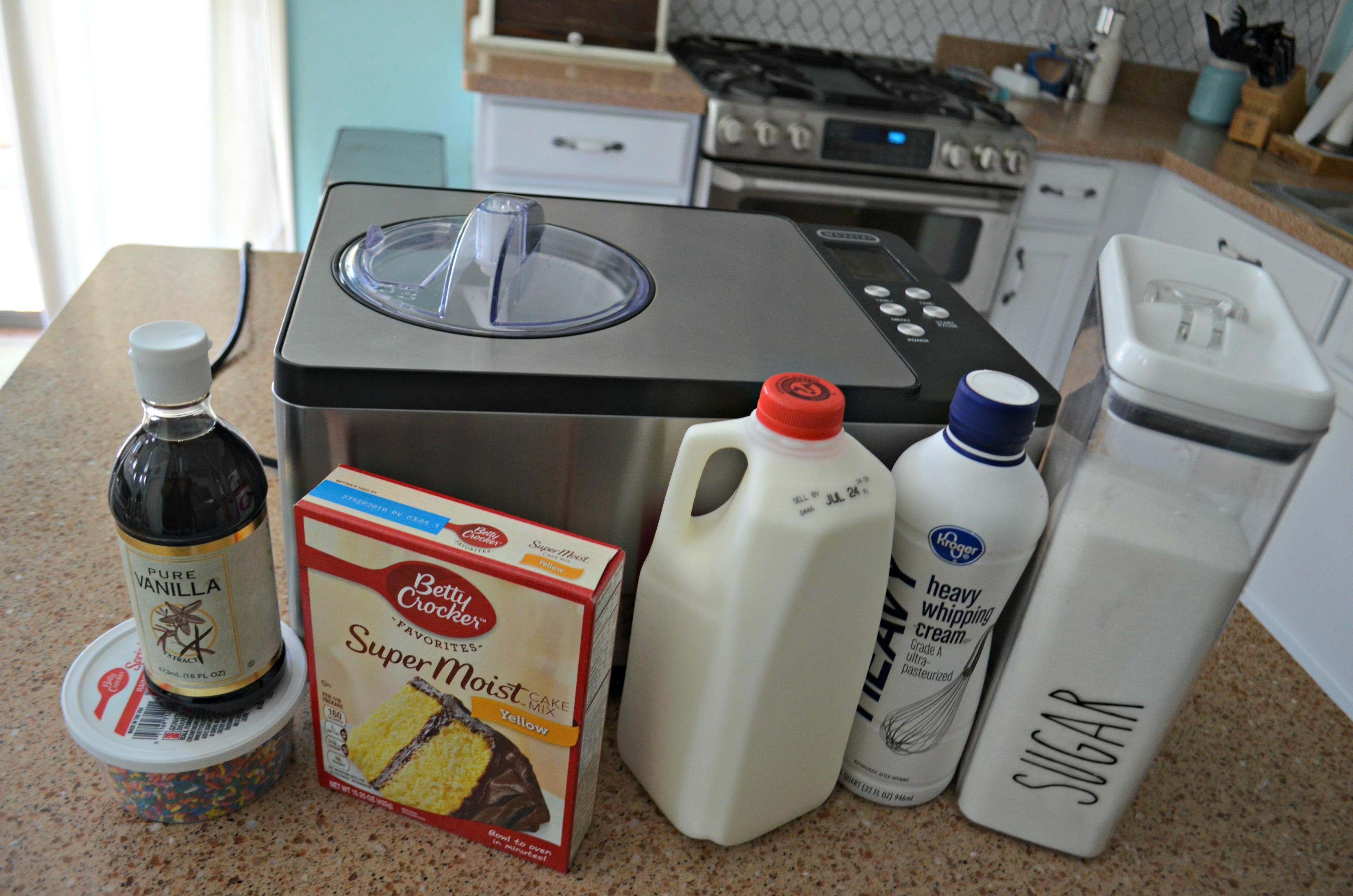 homemade cake batter ice cream – ingredients and ice cream maker